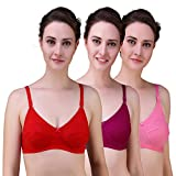 Alzy Women's Full Coverage Non Padded Bra (Red, HotPink, 34) Pack of 3