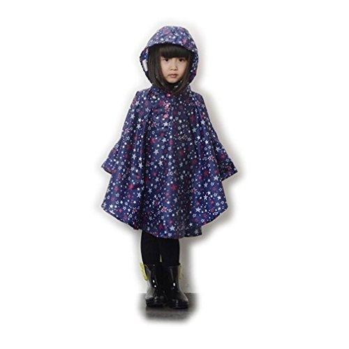 LOSORN ZPY Kinder Mädchen Stern Regenjacke Regenmantel mit Kapuze Wasserdicht Softshelljacke Regenponcho,blau,140-160cm -