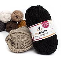 Myboshi (196) Schwarze Merino Wolle/Acrylgarn No. 1 zum stricken, häkeln und für die Handarbeit (55m/50gr)
