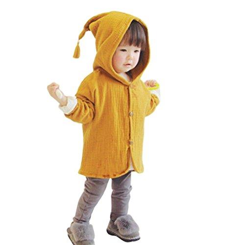 Amuster Amuster Kleinkind Kinder Unisex Baby Junge Mädchen Mantel mit Kapuze Hooded Sweatshirt Strickjacke Pullover Outwear Trenchcoat (100, Gelb) -