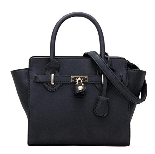 LDMB Damen-handtaschen Große Kapazitäts-PU-lederne Nubuck Schulter-Kurier-Beutel-Handtaschen-Multifunktionsklassische justierbare Tote-Beutel Black