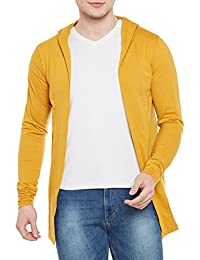 Wittrends Men's Hooded Cotton Blend Shawl Neck Cardigan Shrug with Side Pockets (Multiple Color Options)