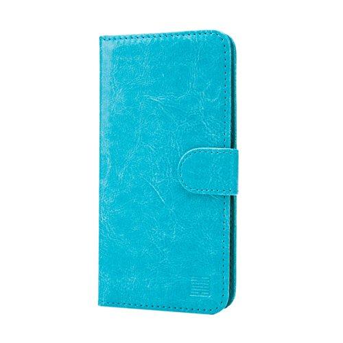 32nd PU Leder Mappen Hülle Flip Case Cover für HTC Desire 825, Ledertasche hüllen mit Magnetverschluss und Kartensteckplatz - HellBlau