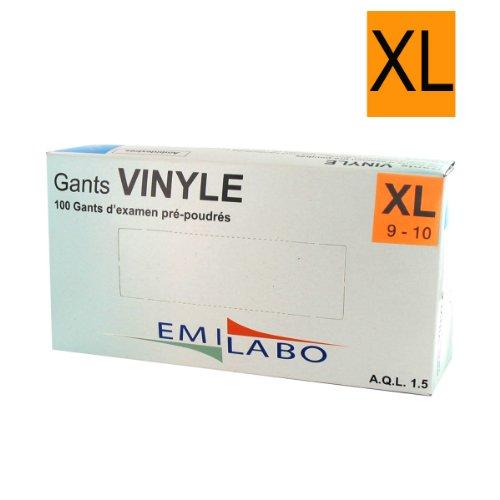 EMILABO - Gants d'examen vinyle - Pré-poudrés, taille XL (9-10)