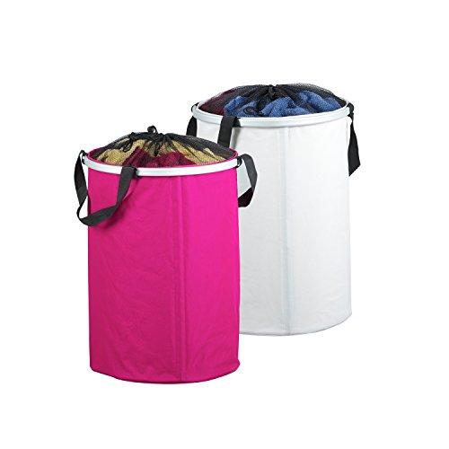 Wäschesammler, Wäschebehälter, Wäschekorb Wäschetruhe weiß+pink