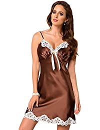 Beautiful Chocolate Satin Cream Lace Trimmed Luxury Nightdress Medium (Up 10-12)