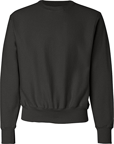 M?nner Reverse Weave Fleece Crew, schwarz, mittel (Champion Sweatshirt Heavyweight)