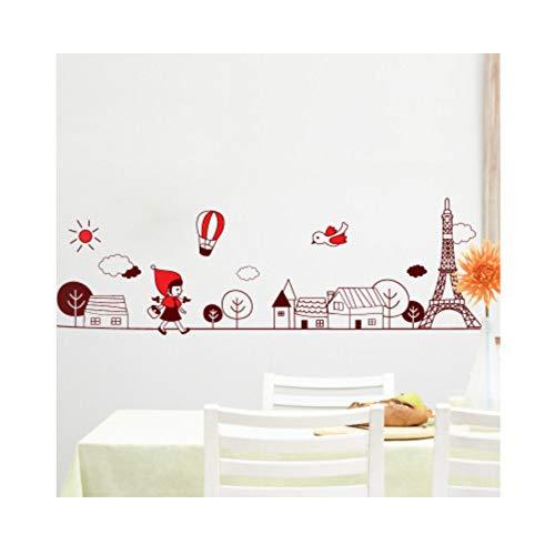 Hut Mädchen Auf Dem Weg Zur Schule Wand Aufkleber Aufkleber Wand Grenze Kunstwand Dekor Poster Kinderzimmer Wand Applique Grafik 50X70cm Abnehmbare Schlafzimmer ()