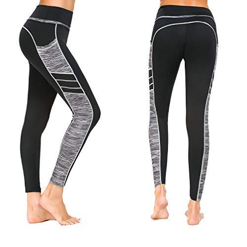 Munvot Damen Sporthose Sport leggings Tights, C1173-0310(grau), M (38-40)