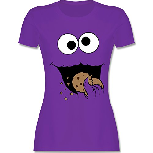 Karneval & Fasching - Keks-Monster - S - Lila - L191 - Damen T-Shirt ()