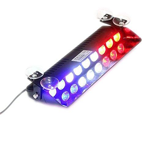 Blitzleuchten Blaue Weiße Und (Dayiss® Auto Windschutzscheibe Saugnapf S9 Schaufel förmigen Auto LED Strobe warnleuchte Blitzleuchte Lichtbalken Stroboskoplicht Warnleuchten Super Helle vorne (Blau+Weiße +Rot))