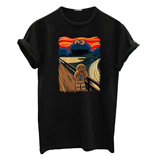 Famous Painting Shouting Screaming gingerbrman Sesame Street Cookie Monster Spoof Short-Sleeved Women's t-Shirt top Black XXL