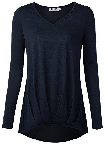 DJT Damen Casual Bluse Langarm T-Shirt Tops mit V-ausschnitt Dunkelblau Large (Bluse Tunika V-neck)