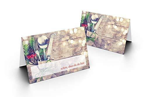 Karten24Plus 25 Tischkarten (Besteck mit Tannen-Holzhintergrund) UV-Lack glänzend - für Hochzeit, Geburtstag, Jubiläum. als Tischdekoration!Format 8,5 x 11,2 cm