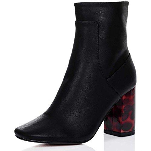 SPYLOVEBUY MIISY Damen Blockabsatz Stiefeletten Schuhe Schwarz -