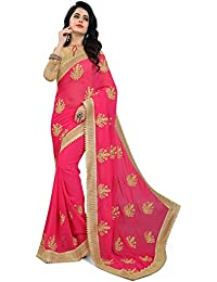 Aneeka Fashion Pink Gajari, Navy Blue, Green And Red Color Georgette Fabric Sari Designer Indian Sarees