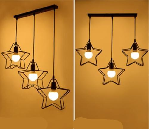 FWEF Ferro ottone appeso Nordic eoliche industriali lampadari Café cinque punte stelle bar illuminazione decorativa (Chrome Quattro Punti)