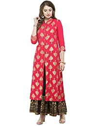 Varanga Pink Foil Printed Kurta With Black Printed Skirt KFF-VAR118028_PZ21030