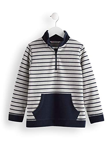 RED WAGON Jungen Half Zip Striped Sweater Sweatshirt, Grau (Grey/Blue), 116 (Herstellergröße: 6) Half Zip Sweatshirt