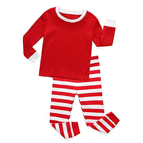 Weentop Kinder gestreiften Pyjamas Jungen Mädchen & Kleinkind Pyjamas Rot Grün 2 Stück Pjs Set Größe 1-8T (Farbe : Red 1, Größe : 5T)