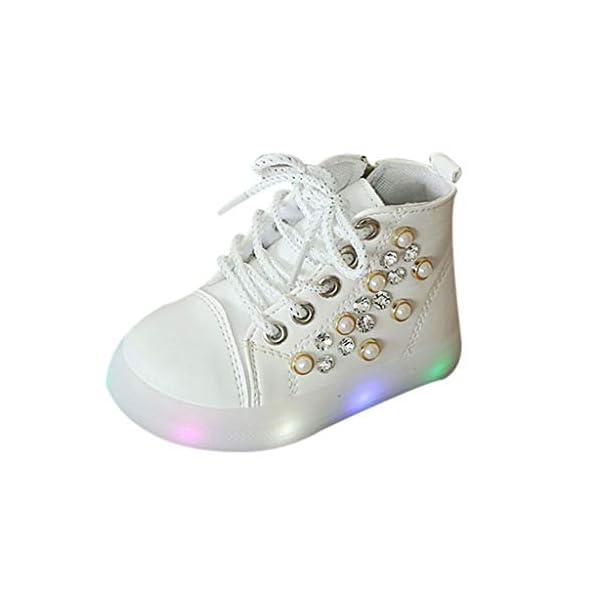 Zapatillas LED para niños Niños Baby Girls Pearl Crystal Led Light Luminous Running Sport Botas Zapatos 5