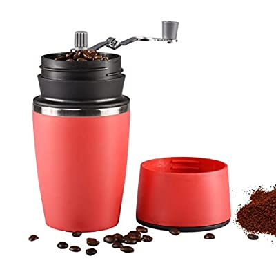 Portable Manual Coffee Grinder, Uong Adjustable Single Cup Coffee Maker Ceramic Burr Coffee Grinder Mug with Built-in Grind and Brew System for Travel Camping Office from Uong
