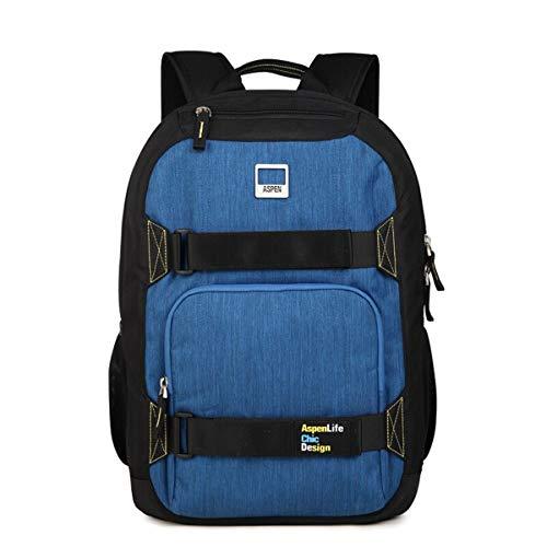 LF Business Casual Daypack Männer und Frauen College Schoolbag Laptop Rucksack wasserdichter Rucksack, Outdoor-Reisen Bergsteigen Bulk Rucksack (Color : Blue, Size : 48cm)