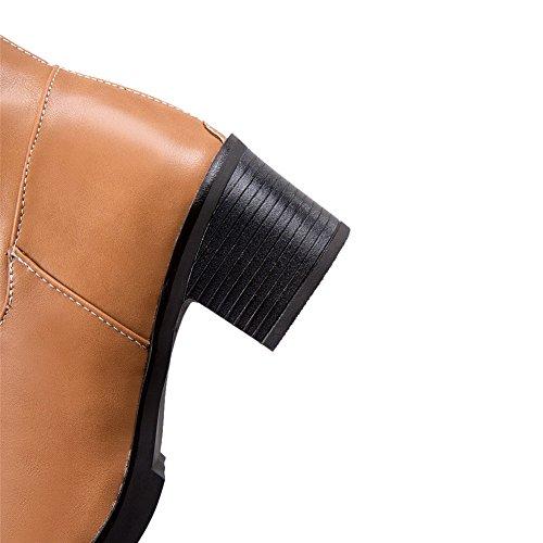 AgooLar Femme à Talon Correct Haut Élevé Couleur Unie Zip Bottes Jaune