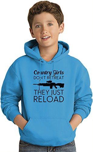 Country Girls Don't Retreat The Just Reload Slogan Lightweight Hoodie For Kids   80% Cotton-20%Polyester  DTG Printing  Unique & Custom Jumpers, Sweatshirts, Sweaters & Kids Clothing By Wicked Wicked