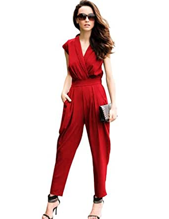 PrettyGuide Women V Neck Cap Sleeves Tunics Jumpsuit Rompers Polyester Long Pants (X-Large 12-14, Red)