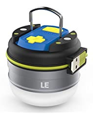 LE Lampe de Camping LED Polyvalente, 280lm, Rechargeable Câble USB équipé, Lanterne Tente Lampe Portable Etanche Légère, Parfait pour camping, randonnée, chasse, pêche, activités en extérieur [Classe