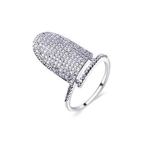 Bishilin Damen Nagel-Ring mit AAA Weißes Zirkonia Damenringe Fingerringe Ring Silber