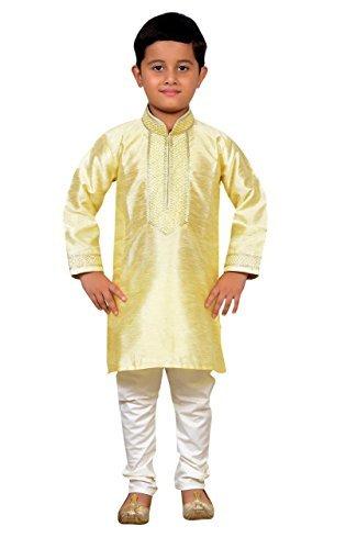 Jungen Indian Sherwani Kurta mit Churidar pyjama in feinem Art Seide für Bollywood-thema party Kostüm 893 - Creme, 13 ( 13 yrs)