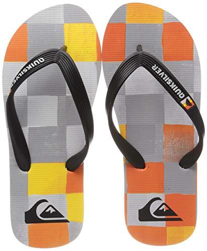 Quiksilver Molokai Resin Check, Scarpe da Spiaggia e Piscina Bambino, Multicolore (Black/Grey/Yellow Xksy), 37 EU