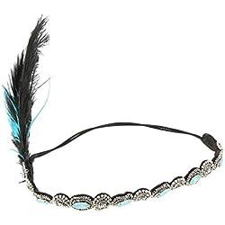 F Fityle Damen Feder Stirnband Kopfstück 1920s Stil Flappers Great Gatsby Haarband für Halloween Themenparty - Gold