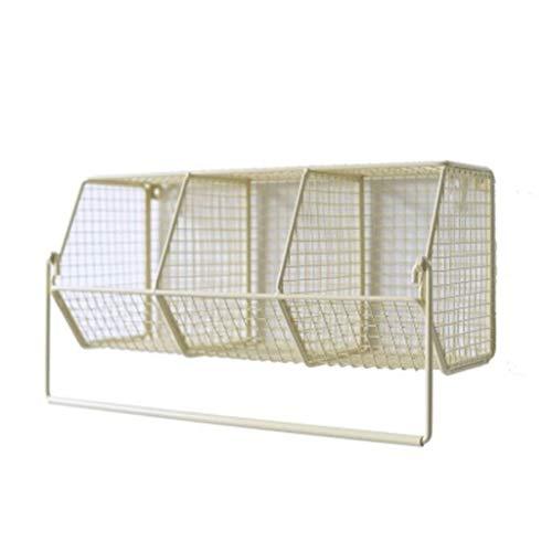 CHX Eisen-Kunst-Wand-Einfassungs-Teilungs-Regal - Doge-kosmetischer Lagerregal-Badezimmer mit hängendem Rod-Speicher-Korb CHXSF (Farbe : Gelb) -