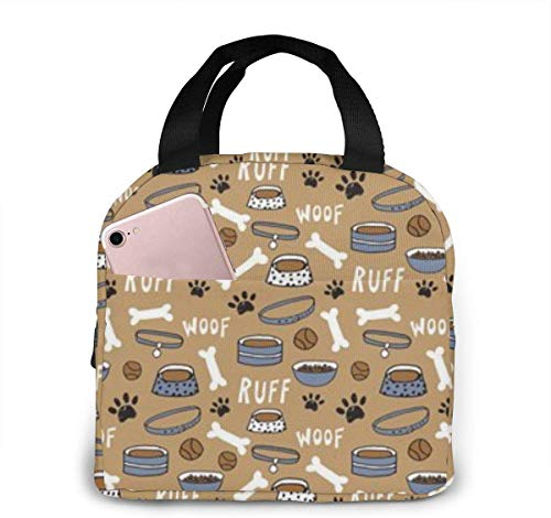 SDFSDF Lunchpaket, Isolierte Lunchbox, Cute Dog Bone Bowl Woof Paw Print Portable Insulated Lunch Bag Waterproof Lunch Handbag Food Zipper Storage Lunch Box Keep Warm 4H with Front Pocket