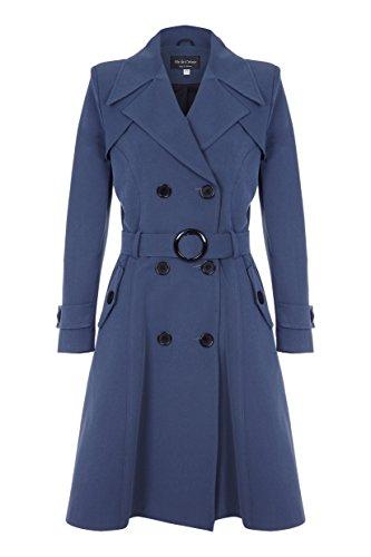 De La Creme - Dunkelgrau Damen Frühling Belted Trenchcoat Größe 40 Belted Damen Trench Coat