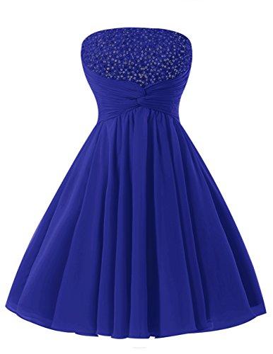 6b9b218dbdf3 Dresstells Damen Kurz Strapless Party Kleider Chiffon Jugendlich Cocktail-Kleider  Royalblau
