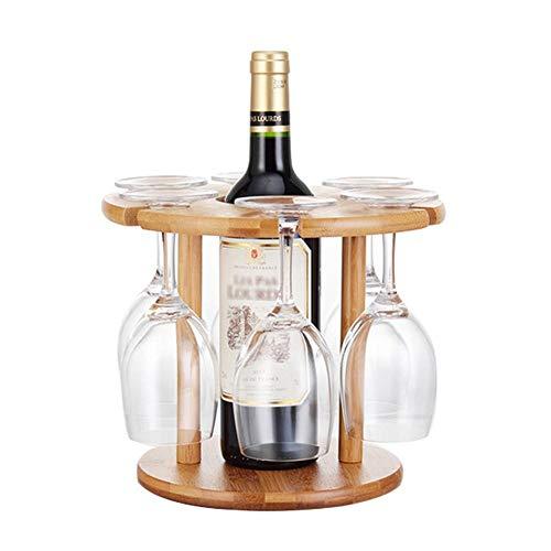 Godya porta bicchiere di vino di lusso, portabottiglie in bambù naturale al 100