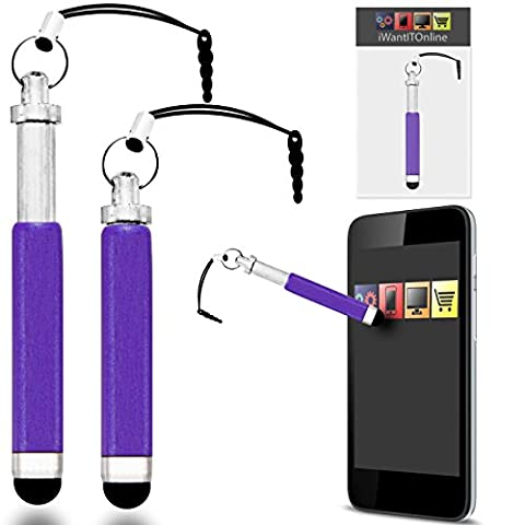 IWIO Apple iPhone SE Purple Premium RETRACTABLE MINI Captive Touch Tip Stylus Pen with Rubber Tip and 3.5mm headset Jack Dangley Adapter