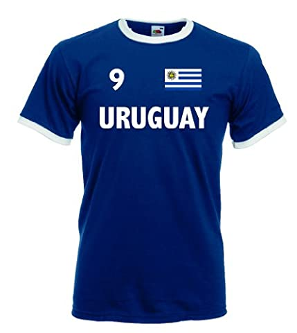 world-of-shirt Herren T-Shirt uruguay Retro Shirt Nr.9|mb-l