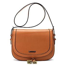 ECOSUSI Women Saddle Bag Purse Fashion Crossbody Bag with Flap Top & Tassel for 9.7″ iPad