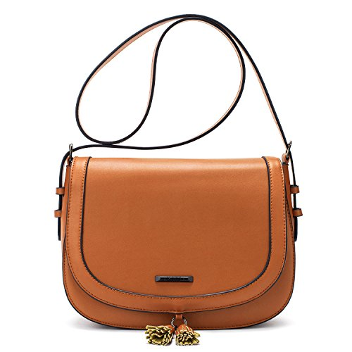 - 41qY2nQBSwL - ECOSUSI Women Saddle Satchel Crossbody Bag Fashion Shoulder Bag with Tassel