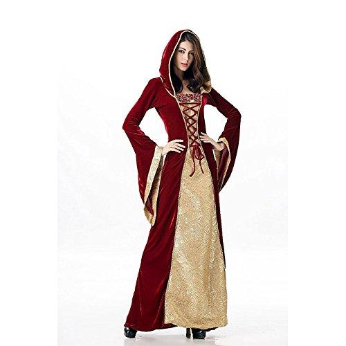 Mittelalterliches Burgfräulein Kostüm Rot/Gold in Deluxe-Ausführung Gr. XS/S Kleid - 4