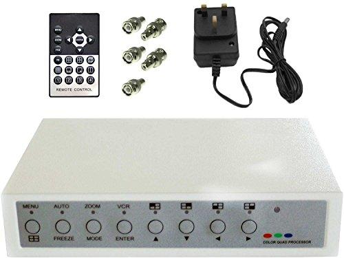 Video-multiplexer (Colour Quad Processor Video Divider for 4 Camera CCTV Security or Spy Camera Systems by SpyCameraCCTV)