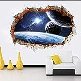 Fagreters 50 * 70Cm Galaxy Planet Space Sticker mural Maison Enfants Garçons Chambre Art Vinyle 3D Sticker Décor À La Maison Pour La Chambre Garçons Filles Citations Cuisine
