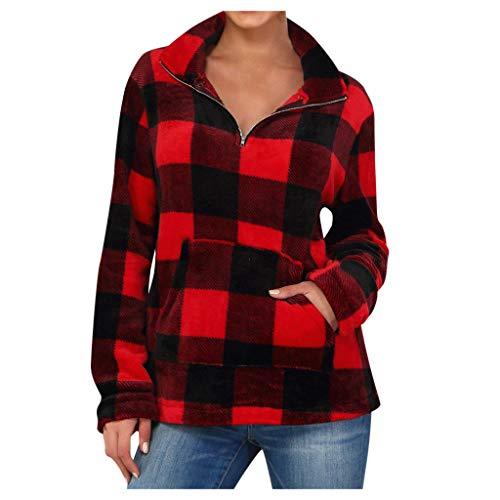 Xuthuly Damenmode Vintage Plaid Rollkragen Sweatshirt Tops Damen Casual Langarm Tasche Reißverschluss Warme Pullover Bluse Brief Plus Size Jumper Shirt -