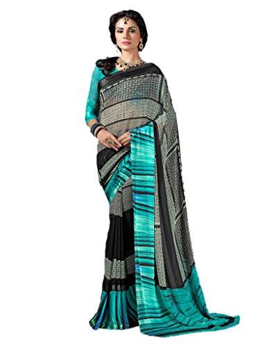 Vaamsi Satin Border Georgette Printed Saree (LEGACY1001_Blue_6.3 m length)