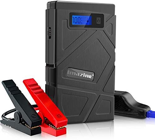 Imazing 600A Auto Starthilfe Jump Starter, Tragbare Starthilfe Power Pack für 12V Fahrzeuge, Autobatterie Anlasser Powerbank mit Dual USB Ausgänge LED Taschenlampe